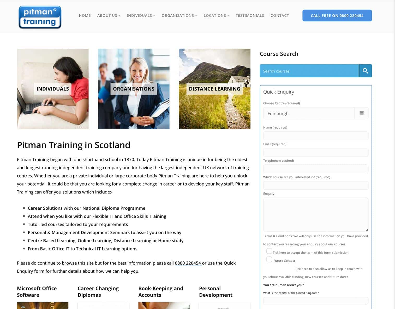 Pitman Training Scotland Website