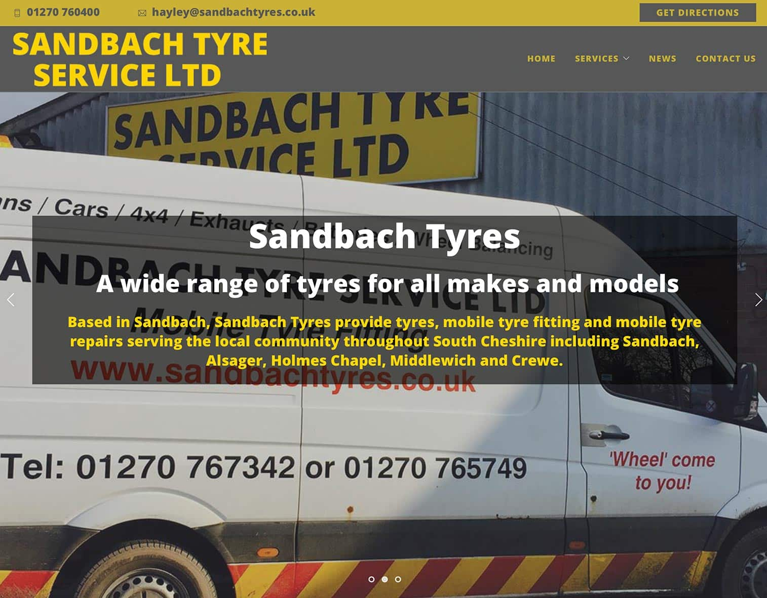 Sandbach Tyre Services Website